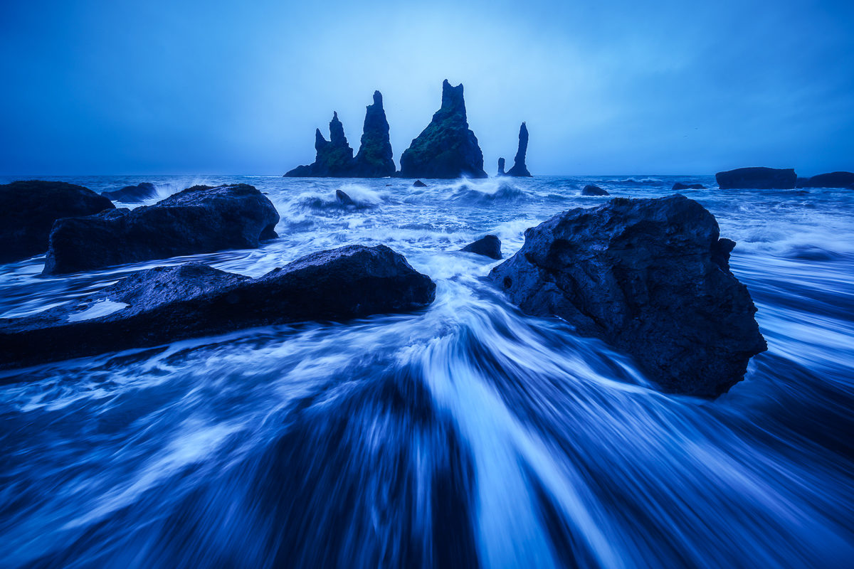 Photograph of coastal sea stacks in Iceland