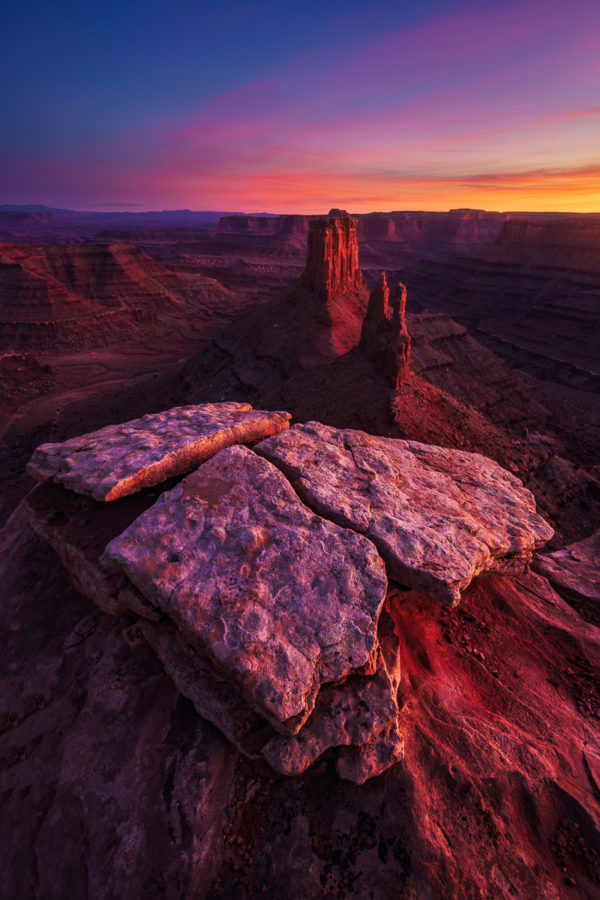 Sunset photograph from canyon rim in Canyonlands National Park