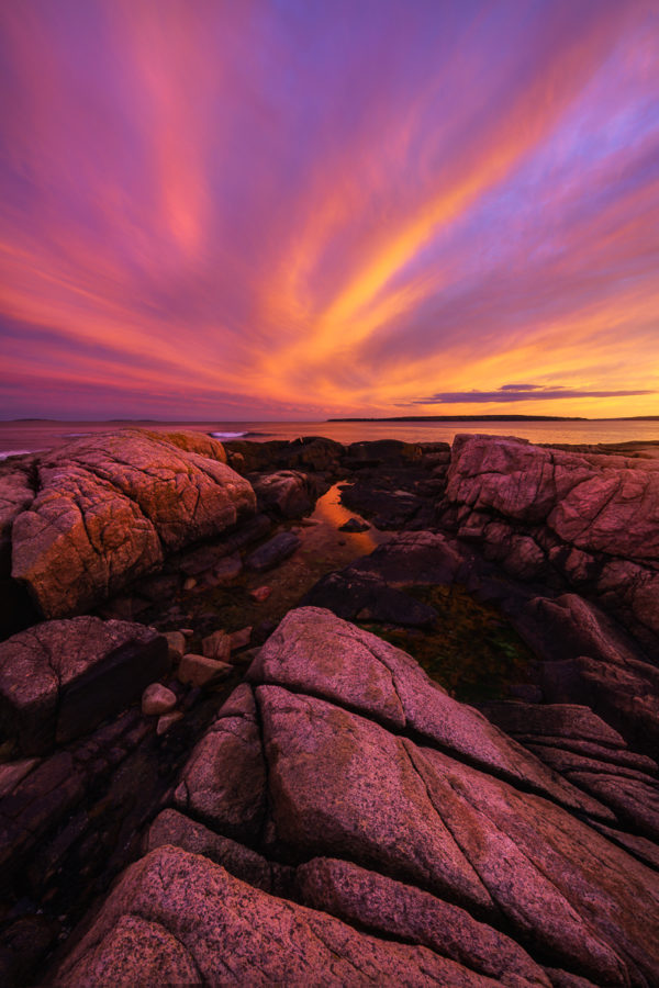 glorious sunset along the rocky coast of acadia national park in maine